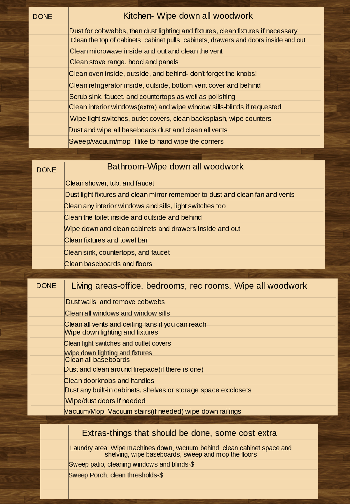 Move in/Move out cleaning checklist